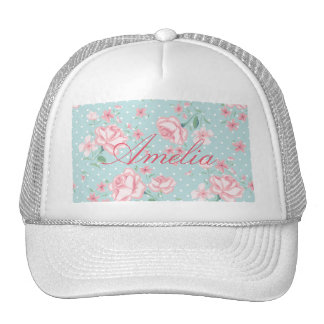 powder blue,pink,polka dot,floral,vintage,shabby trucker hat