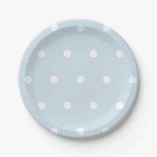 Powder Blue Polka Dot Paper Plate