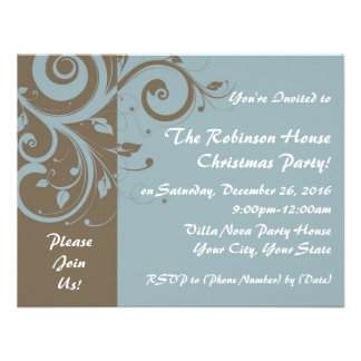 Powder Blue Reverse Swirl Custom Invitations