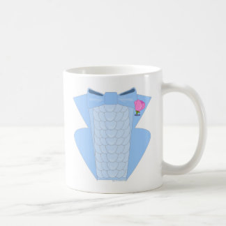 Powder Blue Ruffle Tuxedo Basic White Mug