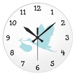 Powder Blue Stork Large Clock