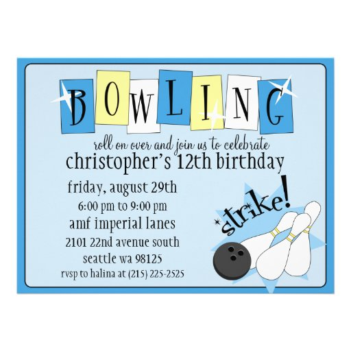 Powder Blue Totally Retro Bowling Birthday Party Personalised Announcements
