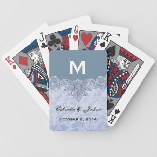 Powder Blue Vintage Monogram Wedding Favor V17 Bicycle Playing Cards