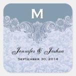 Powder Blue Vintage Wedding Names Date Square Sticker