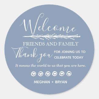 Powder Blue Wedding Thank You Friends & Family Classic Round Sticker