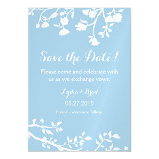 Powder Blue White Flower Save The Date Magnet Magnetic Invitations
