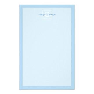 Powder Blue White Framed Initial Monogram Personalised Stationery