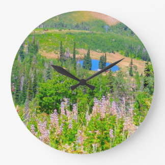 Powder Mountain Summertime: Hidden Lake Large Clock
