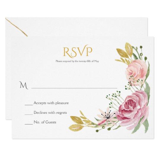 Powder Pink Blush Gold Greenery Floral RSVP Card