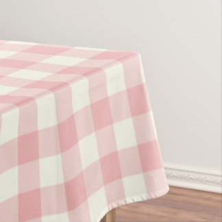 Powder Pink Gingham Pattern Check Tablecloth