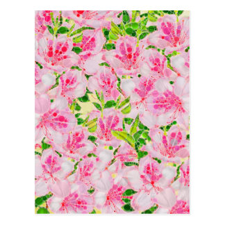 Powder Pink Green Abstract Flowera Postcard