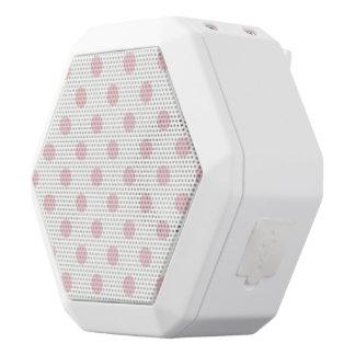 powder pink ,polka dot,white,cute,girly,trendy,fun white boombot rex bluetooth speaker
