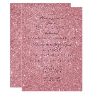 Powder Pink Rose Glitter Black White Bridal Shower 11 Cm X 16 Cm Invitation Card