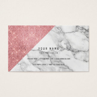 Powder Pink Rose Gold Faux Blush Vip Marble Gray Business Card