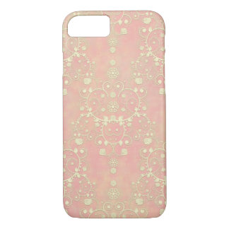 Powder Puff Peachy Pink Girly Damask iPhone 7 Case