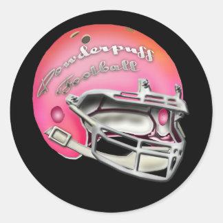 Powderpuff Pink Football Helmet Round Sticker