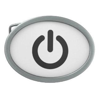 Power Button Symbol Oval Belt Buckles