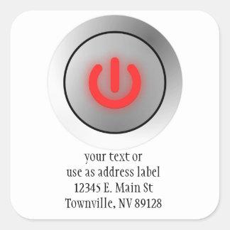 Power Button - White - Off Square Sticker