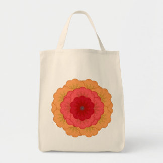 Power Flower Red, Rose, & Gold Tote Grocery Tote Bag