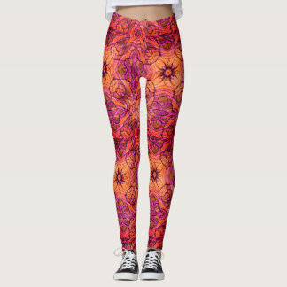 Power flower vibrant 60's pattern leggings