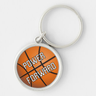 Power Forward Basketball Silver-Colored Round Key Ring