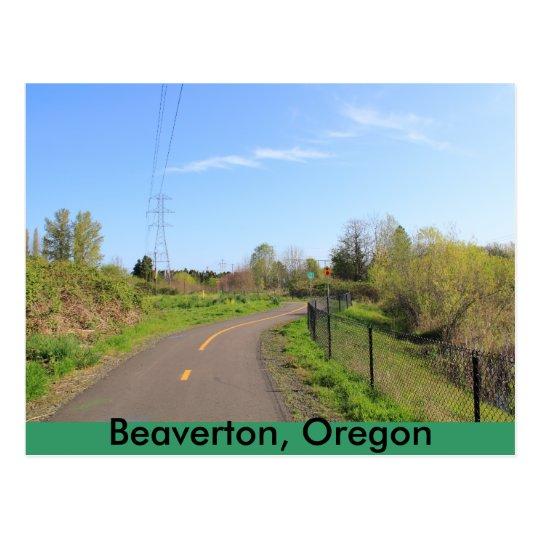 Power line park bike path, walk route postcard