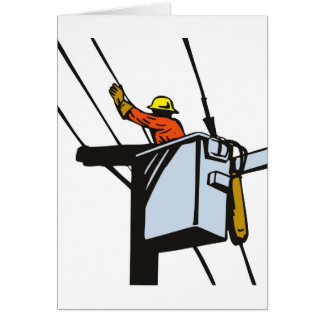 Power Lineman Electrician Electric Worker Card