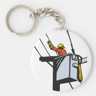 Power Lineman Electrician Electric Worker Key Ring
