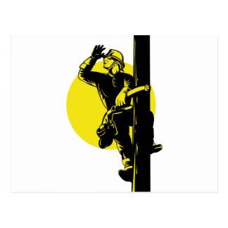 Power Lineman Electrician Electric Worker Postcard