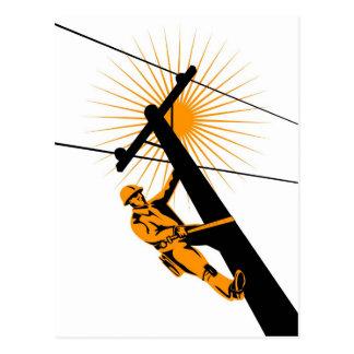 Power Lineman Electrician Worker Postcard