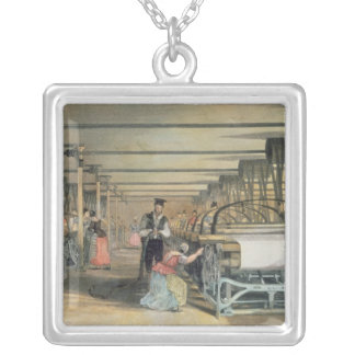 Power loom weaving, 1834 square pendant necklace