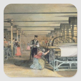 Power loom weaving, 1834 square sticker