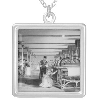 Power Loom Weaving, engraved by J. Tingle, 1835 Silver Plated Necklace