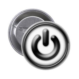 Power: Monochrome (white) 6 Cm Round Badge