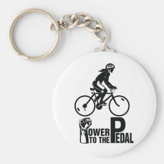 Power To The Pedal Basic Round Button Key Ring