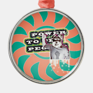 Power To The People - Dog Silver-Colored Round Decoration