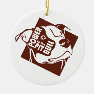 Power to the Pit Bull Round Ceramic Decoration