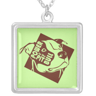 Power to the Pit Bull Silver Plated Necklace