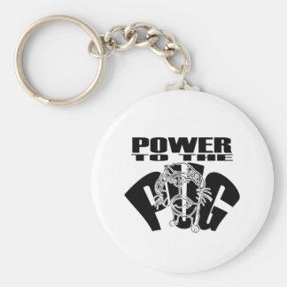 Power To The Pug Keychain
