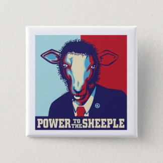 Power to the Sheeple 15 Cm Square Badge