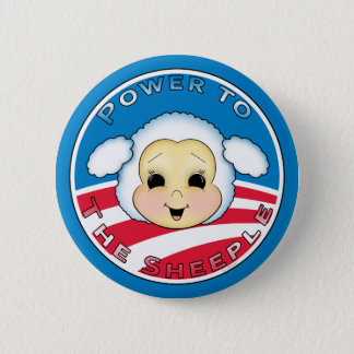 Power To The Sheeple (Obama) 6 Cm Round Badge