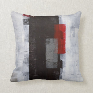 'Power Trip' Black, Grey, Red Abstract Art Pillow