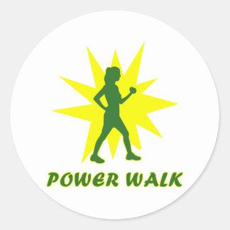 Power Walk Round Stickers