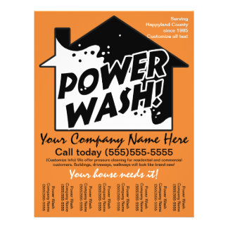 Power Wash Pressure Cleaning Marketing Advertising 21.5 Cm X 28 Cm Flyer