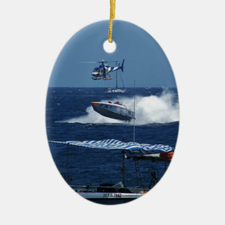 Powerboat and a helicopter christmas ornament