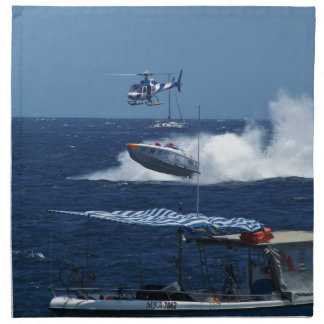 Powerboat and a helicopter napkin
