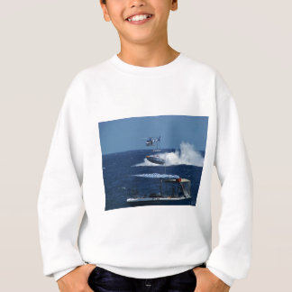 Powerboat and a helicopter sweatshirt