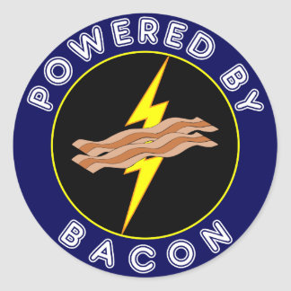 Powered By Bacon Classic Round Sticker
