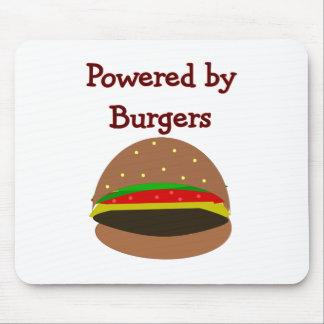"""Powered by Burgers""--funny Hamburger Lover Gifts Mouse Mat"