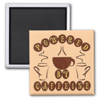POWERED BY CAFFEINE SQUARE MAGNET